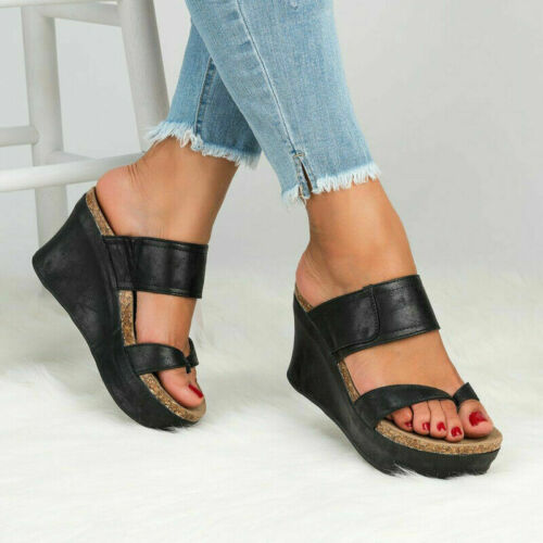 New Womens Platform Wedge High Heels Sandals Ladies Summer Flip Flops Shoes Size