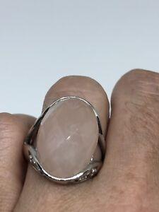 Antique-Deco-Veritable-Quartz-Rose-Vintage-Argent-Sterling-925-Taille-9-Ring