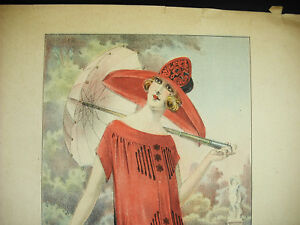 Elégante Au Chapeau Mode Ancienne Fashion 1930 Affiche Poster:: 34cm