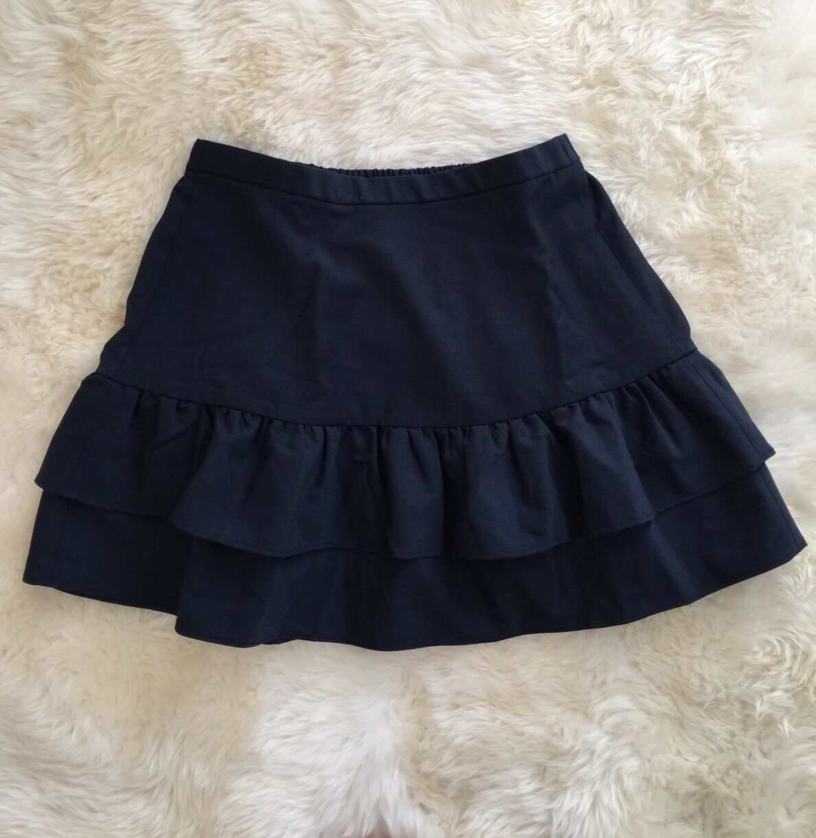 New Jcrew Petite wool flannel ruffle Office skirt Vintage Indigo G8870 Size 10P