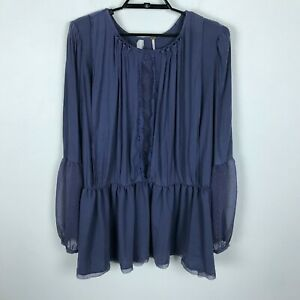 Free-People-Blouse-Size-L-Purple-Long-Sleeve-Boho-Chiffon-Womens-Top-Shirt