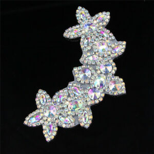 Silver-AB-Rhinestone-Flower-Applique-Sew-Iron-On-Bridal-Dress-Sash-Trim-Crafts