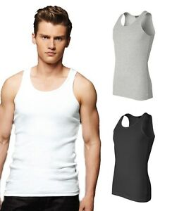 Canvas-Mens-NEW-S-M-L-XL-2XL-2x1-Cotton-Rib-Tank-Top-Fitted-Muscle-T-Shirt-b3400