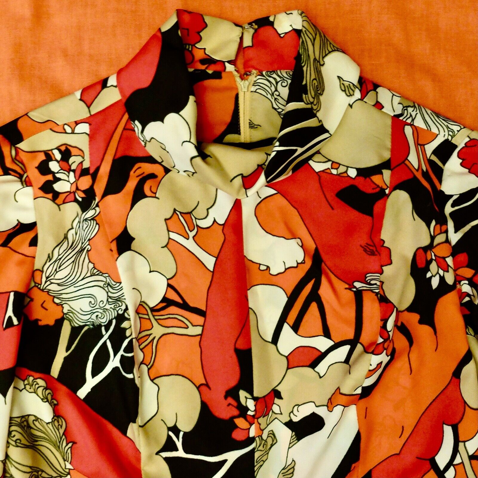 Vintage 60s 70s Handmade Psychedelic Lion Print R… - image 4