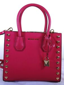 f3d0cc6508bf Image is loading Michael-Kors-Studio-Mercer-Heart-Pink-Leather-Medium-