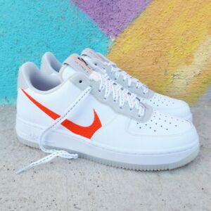 ensayo manga Gato de salto  Nike Air Force 1 07 LV8 Orange Swoosh White CD0888-100 - Nike - CD0888-100  | eBay