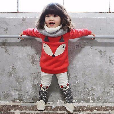 New!2pcs Baby Girls Cartoon Fox T-Shirt + Pants Set Kids Casual Clothes Outfits