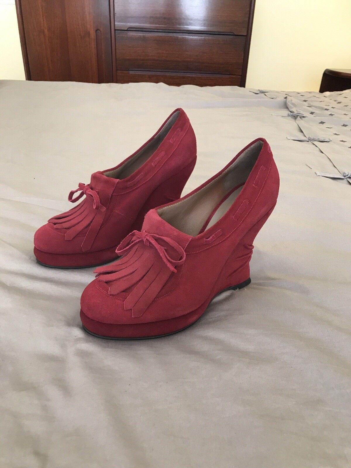 BOTTEGA VENETA  960 burgundy suede Wedges Pumps Shoes EU 40 US 9.5 MADE IN ITALY