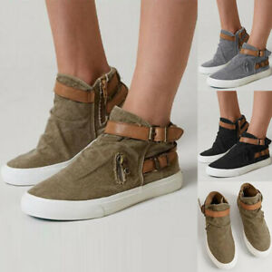Womens-Canvas-Flats-Shoes-Espadrille-zip-Slip-On-Casual-Loafer-Comfort-Sneakers