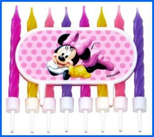 Disney Minnie Mouse Candles Cake Topper Decoration 9 pc Birthday Party Supplies