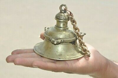 Nice Patina Old Brass Solid Handcrafted Unique Hanging Temple bell With Chain