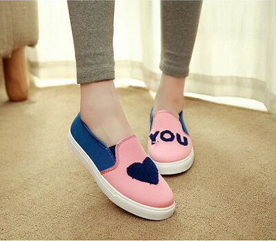 canvas Womens pull on Flat Canvas Preppy Style Korean Students Shoes Casual C823