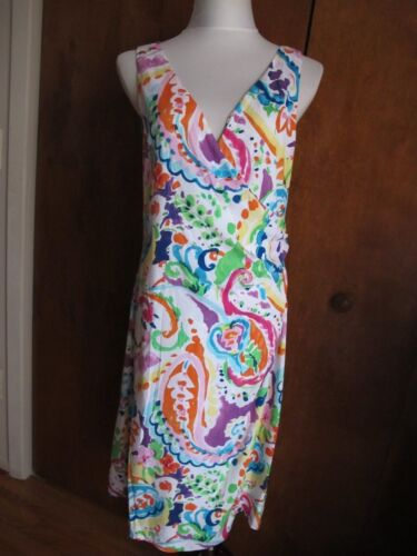 Women's Color Wrap Nwt Lined 10 Maat Jurk Lauren 2 Ralph Multi Faux 6 12 MSzqVUp
