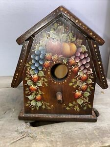 Vintage Hand Painted Birdhouse Signed By Artist Shelia Kaiser 1944