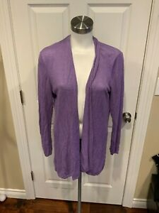 Eileen Fisher Light Purple Linen Open Front Cardigan Sweater, Size Medium