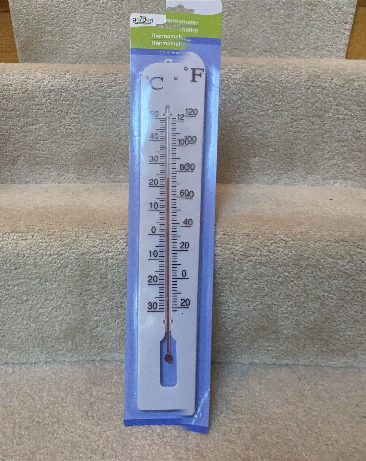 """New-15"""" Indoor/Outdoor Home/Garden Wall Thermometer. Large 12"""" Magnifying Tube"""