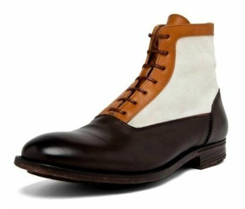 botas para hombre hecho a mano con Cordones blancoo y Marrón Cuero Zapatos Casuales De Vestir Ropa Formal