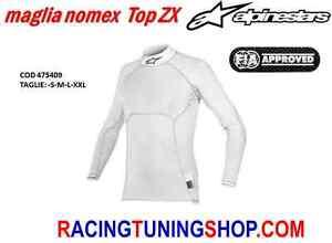 MAGLIA SOTTOTUTA AUTO OMOLOGATA FIA ALPINESTARS ZX NOMEX RACING WHITE UNDERWEAR