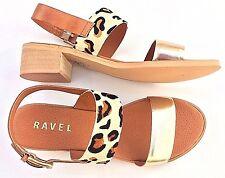 New Women's Ravel Columbus Block Heel Sandals Brown/Leopard Leather UK 6 EUR 39