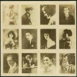1920-039-s-Spanish-Proof-Uncut-Sheet-with-Mary-Pickford-amp-Buster-Keaton-12-cards