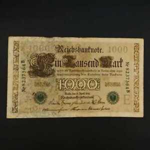 German World War Period 1910 1000 Mark green seal Reichsbanknote fine