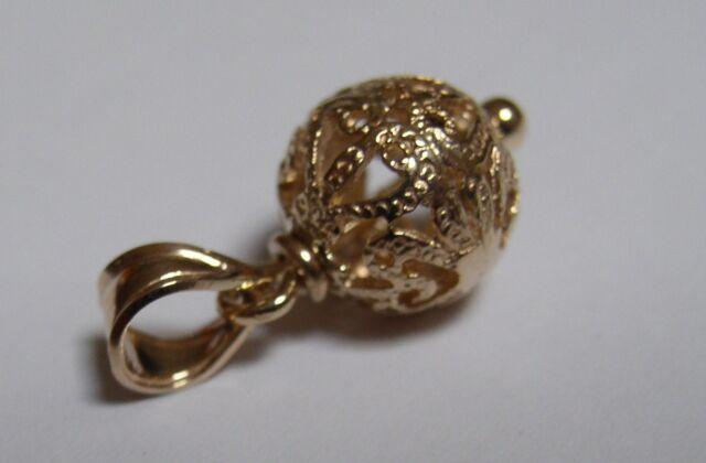 GENUINE NEW 9CT 9k YELLOW GOLD 8mm SMALL FILIGREE BALL PENDANT