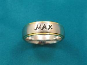 Stainless-Steel-Gold-Edge-Personalized-Ring-With-Baby-039-s-Name-amp-Birthdate