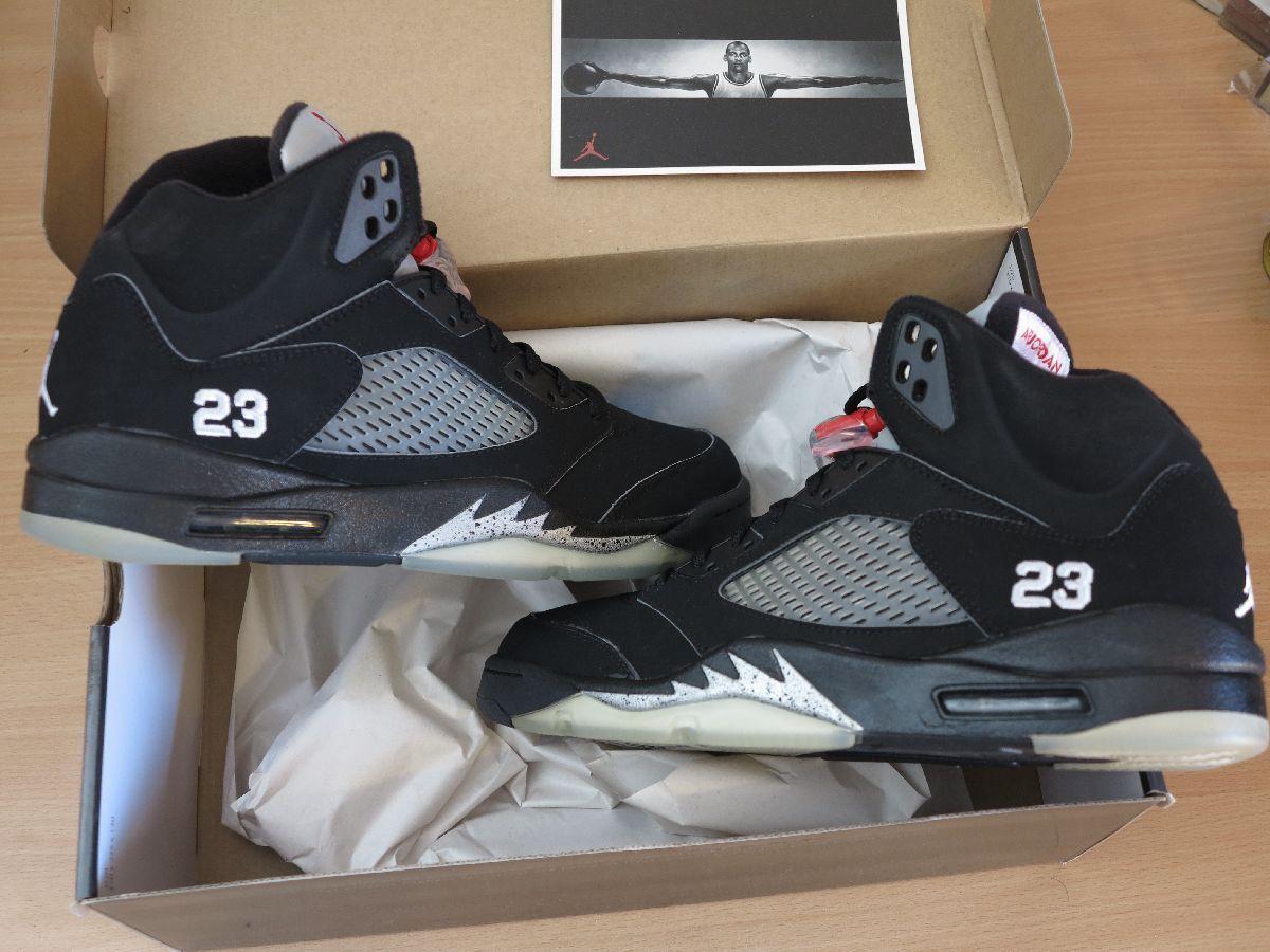 Nike Air Jordan 5 V retro Negro 10/44 metallic Plata 2018 Talla 10/44 Negro New Mint rar 2c205e