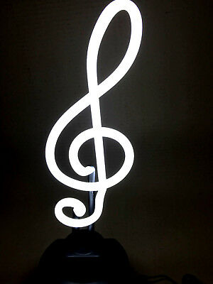 NOTENSCHLÜSSEL Neonleuchte Neon sign Leuchtreklame music light Neonschild news