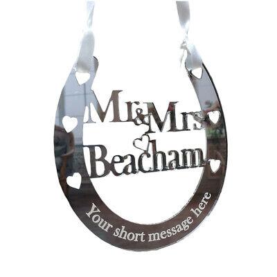 Personalised Wedding Mr /& Mrs Good Luck Horseshoe Bridal Gift And Lucky Keepsake