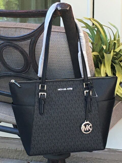 MICHAEL KORS WOMENS LADIES TOTE SHOULDER BAG PURSE MK BLACK SIGNATURE LEATHER