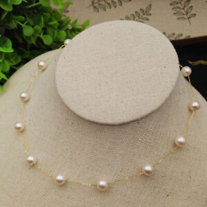 8-9mm real natural Japanese Akoya white round pearl pendant 18k Gorgeous AAA+