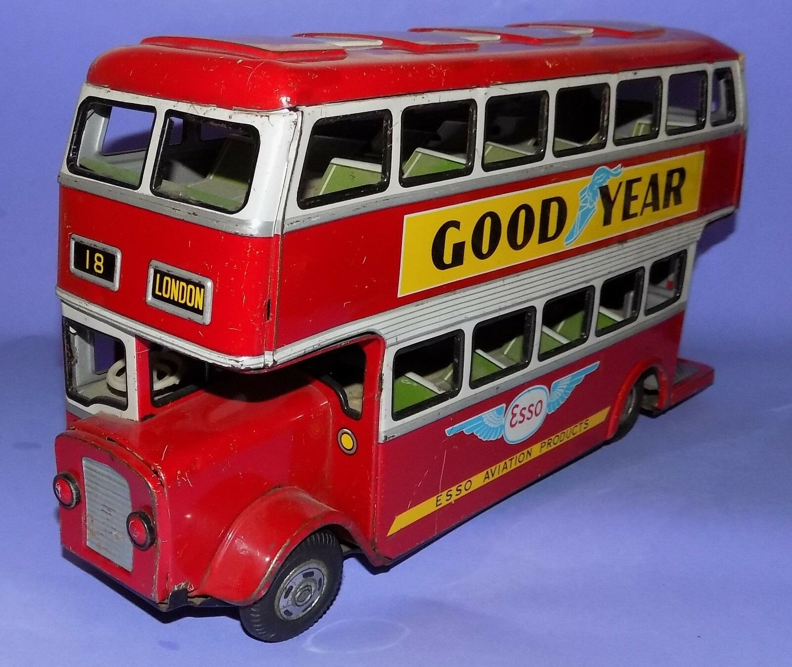 VINTAGE  1960's   ADT  MADE IN JAPAN   TINPLATE   FRICTION DRIVE BUS