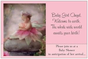 Image Is Loading 20 Blonde Angel Baby Shower Invitations