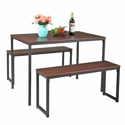 Set of Table and 2 Bench Dining Room Kitchen Canteen Chairs Furniture Brown New