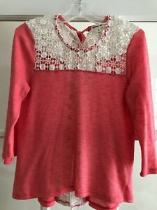 Monteau-Girl-Top-Size-7-8-Coral-With-Ivory-Lace-Trim