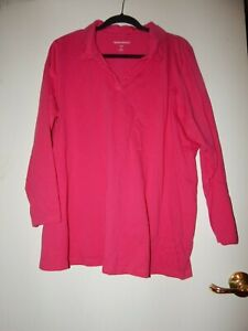 Plus-Size-1X-22-24-Woman-Within-100-Stretch-Cotton-Pink-3-4-Sleeve-Shirt