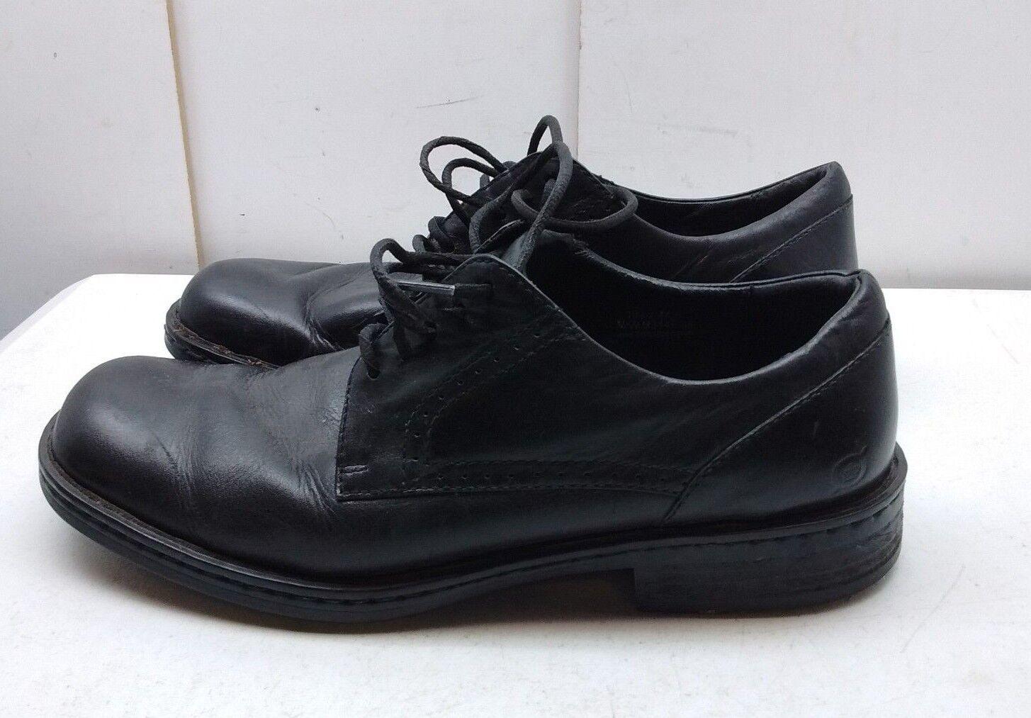 Born Black Leather Oxfords Plain Toe Lace Up Dress Formal Men shoes 10.5M W 44.5