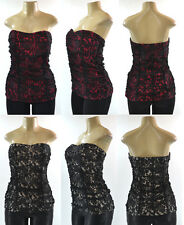 TORRID Ruched Floral Lace Strapless Sweetheart Neck Bustier Top Plus Size 0-4