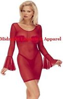 Sheer Lingerie Long Sleeve Chemise Dress O/s S M L 90 160lbs