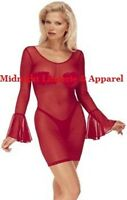 Sheer Lingerie Long Sleeve Chemise Dress O/s S M L 90 160lbs
