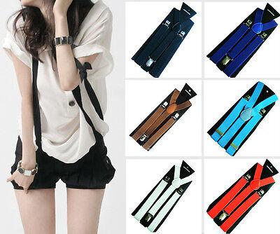 Mens Womens Clip-on Braces Elastic Y-Shape Adjustable Suspender Solids Fashion