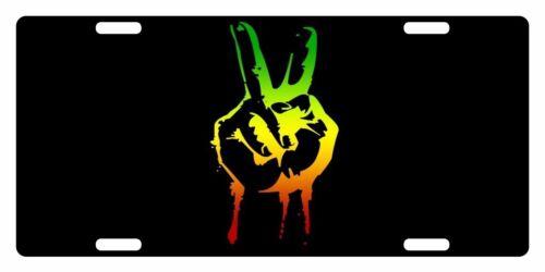 RASTA Flag Custom License Plate Rastafarian Emblem Hand Version