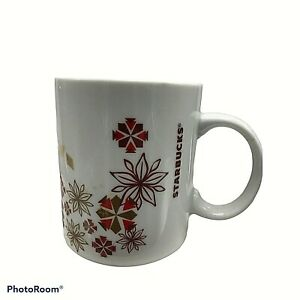 Starbucks 2013 Holiday Poinsettia Snowflake Christmas Coffee Mug Red Gold 12 Oz