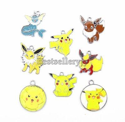 Lot Mix Popular Pikachu Metal Charm Pendants Jewelry Making Party Gifts T52