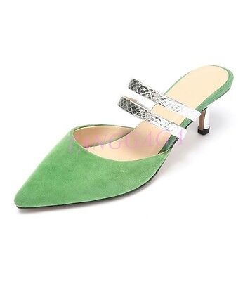 Sexy Elegant Women Kitten Heel Mules Pointy Toe Silver Strap Pieced Slides Shoes by Unbranded