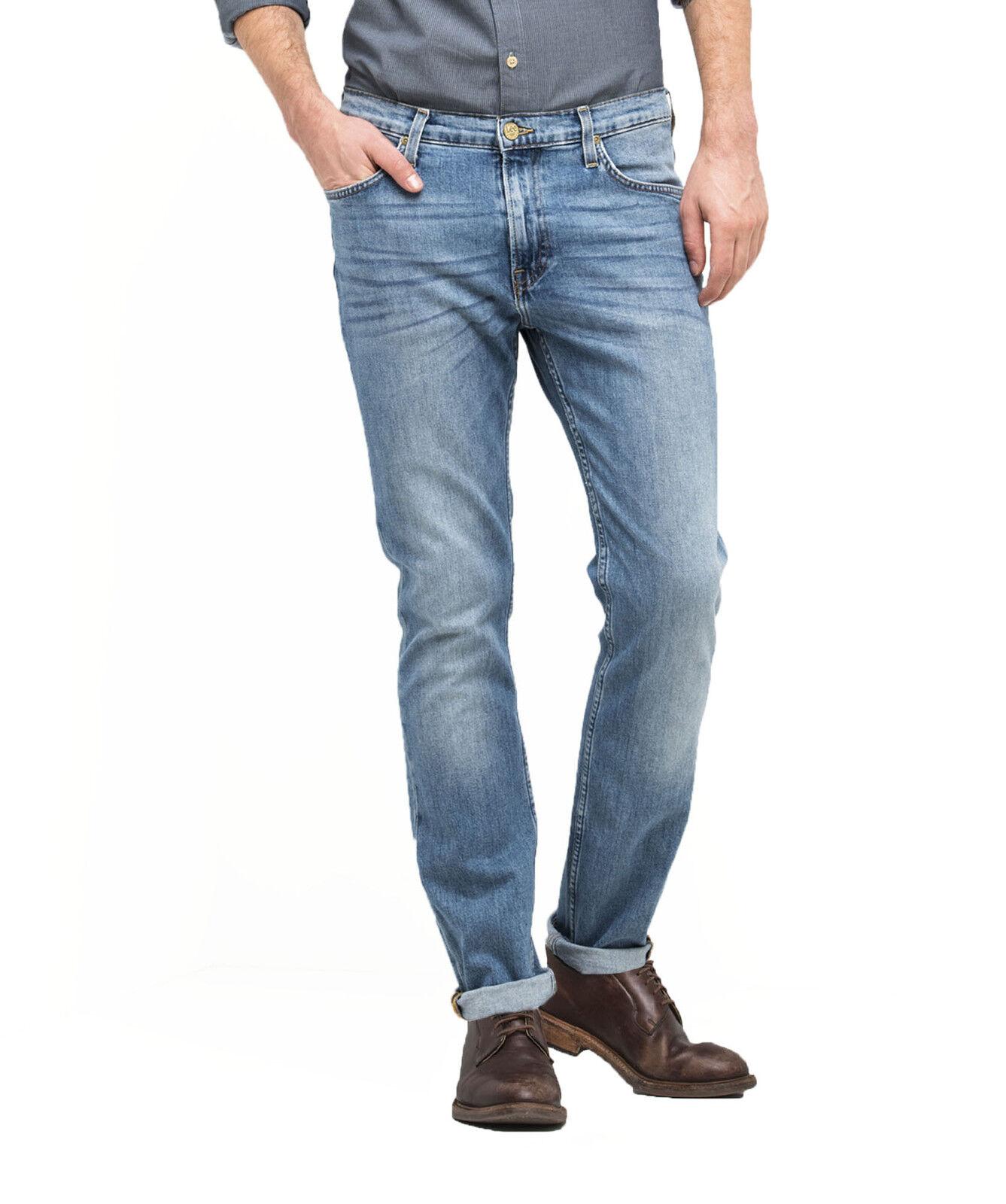 91478ad802dc2 LEE Rider Mens Regular Waist Tapered Slim Leg Stretch Denim Jeans Light  Shade