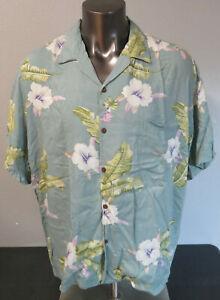 Herren-HO-Aloha-Viskose-Kurzarm-Knopfleiste-Shirt-SZ-2xl-Blaue-Blumen-Hawaii
