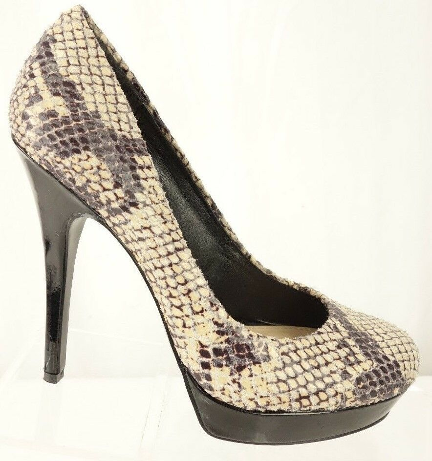 ARTURO CHIANG Orina Reptile Print Black Leather Platform Heels Shoes Womens 6.5M