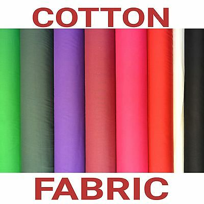 114cm wide PLAIN COTTON FABRIC COLORS POPLIN Material for sewing craft X 1 YARD